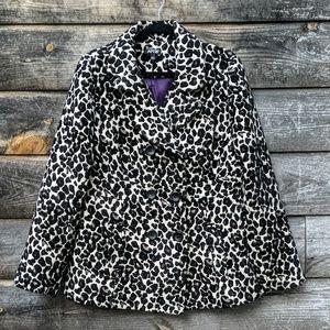 Apt. 9 Leopard Print Jacquard Pea Coat